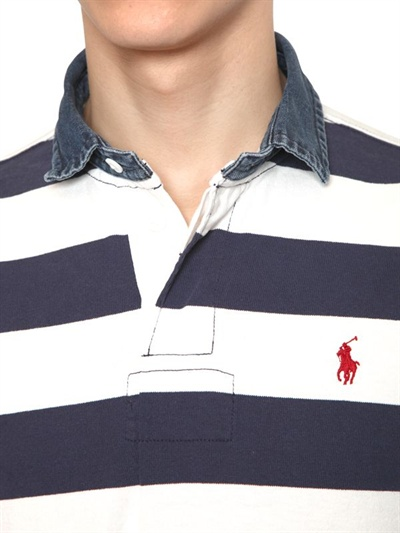Ralph Lauren Blue Label Cotton Jersey Denim Collar Rugby