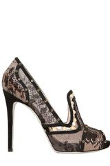 Rene Caovilla 115mm Open Toe Lace Pumps - Lyst