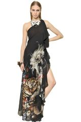 Roberto Cavalli Printed Silk Georgette Long Dress - Lyst