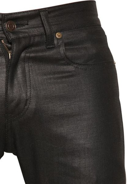 Saint Laurent 155cm Shiny Waxed Denim Jeans In Black For