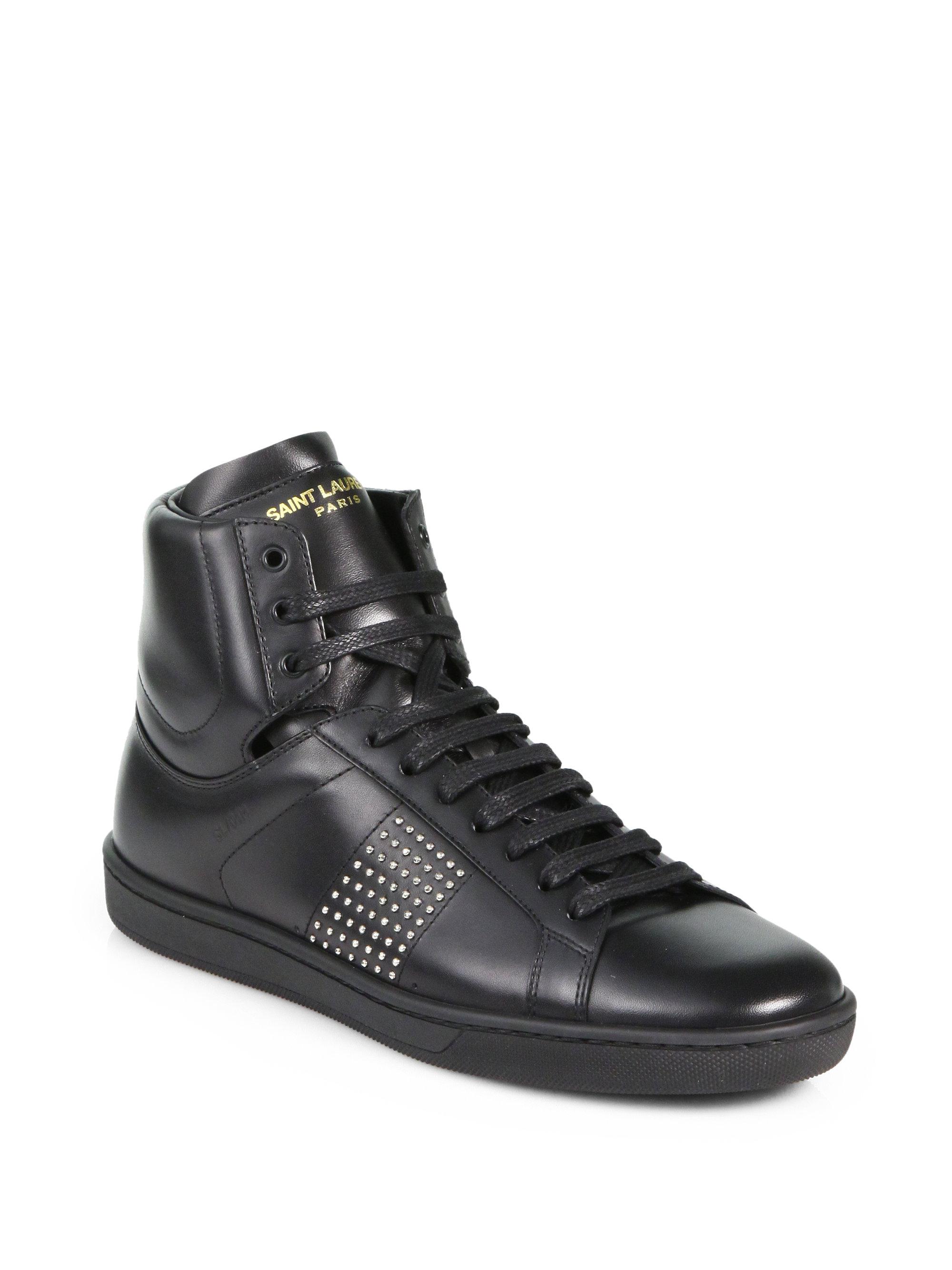 saint laurent studded leather hightop sneakers in black lyst. Black Bedroom Furniture Sets. Home Design Ideas