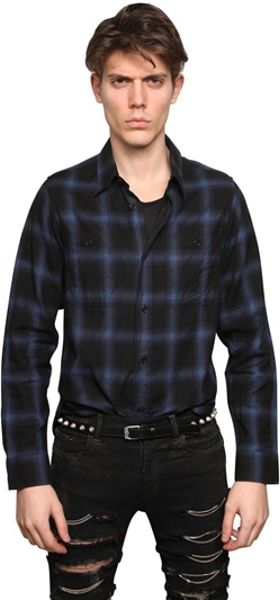 Saint laurent checked cotton flannel shirt in blue for men for Saint laurent check shirt