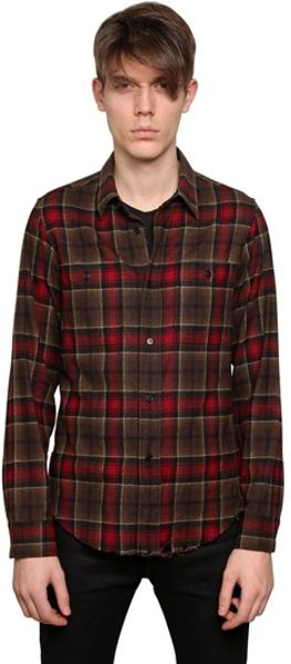 Saint laurent checked wool flannel shirt in red for men for Saint laurent check shirt