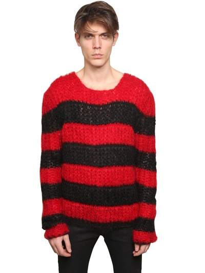 Saint laurent Striped Mohair Wide Knit Sweater in Red for Men | Lyst