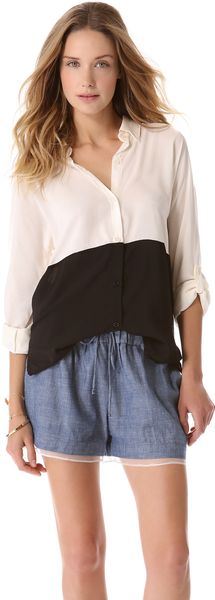 Splendid Colorblock Button Down Shirt - Lyst