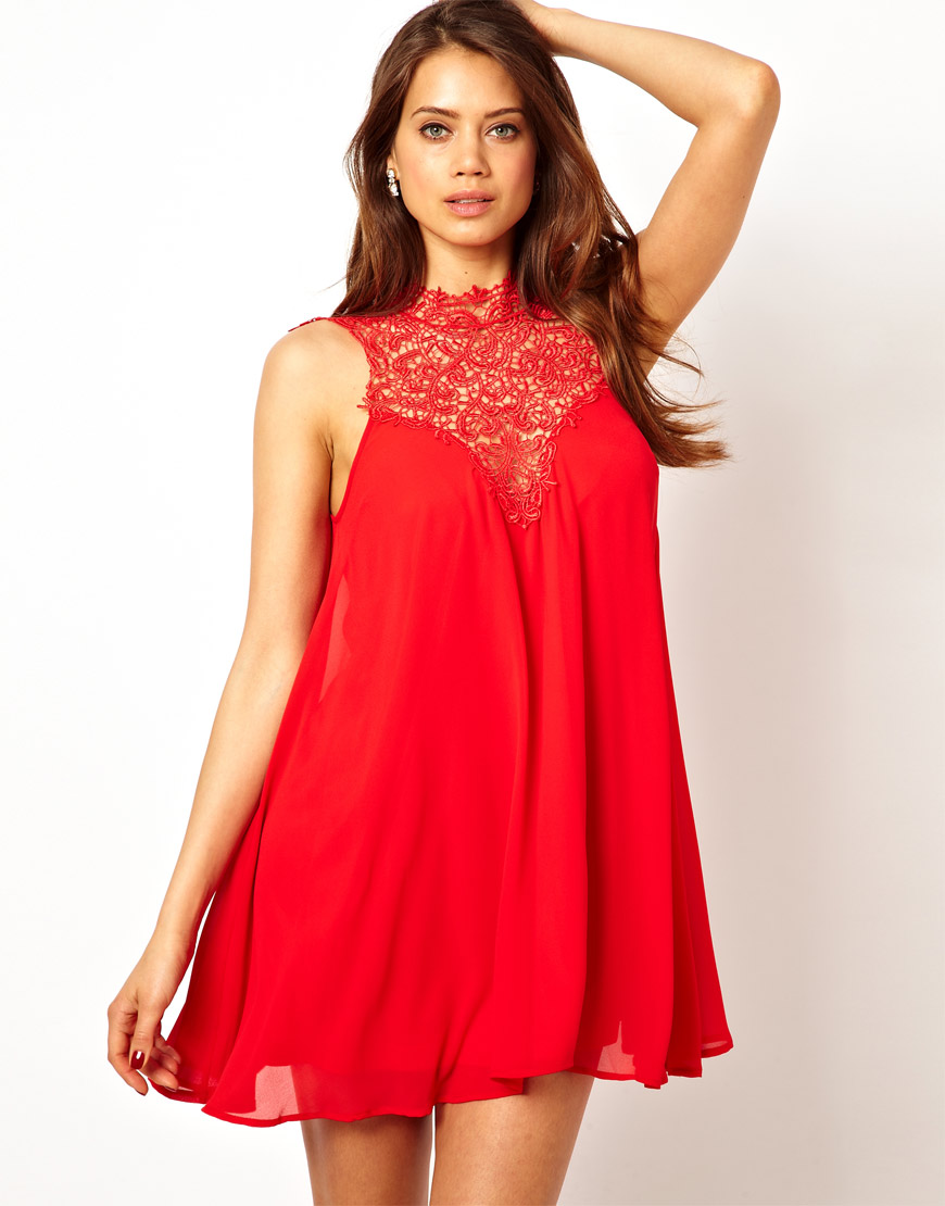 Tfnc london Swing Dress With Lace High Neck in Red  Lyst