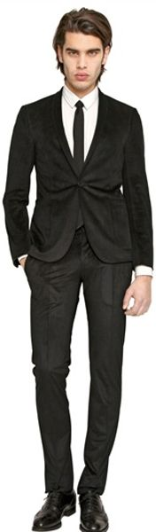 The Suits Stretch Velvet One Button Suit - Lyst