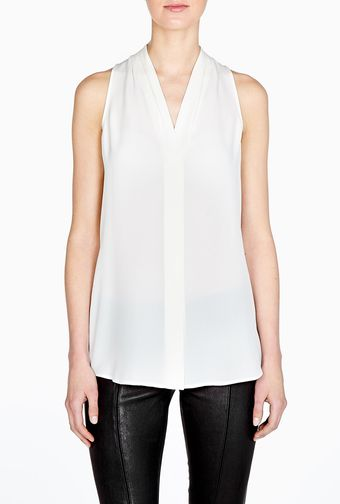 Theory Hylin Silk Sleeveless Drape Top - Lyst