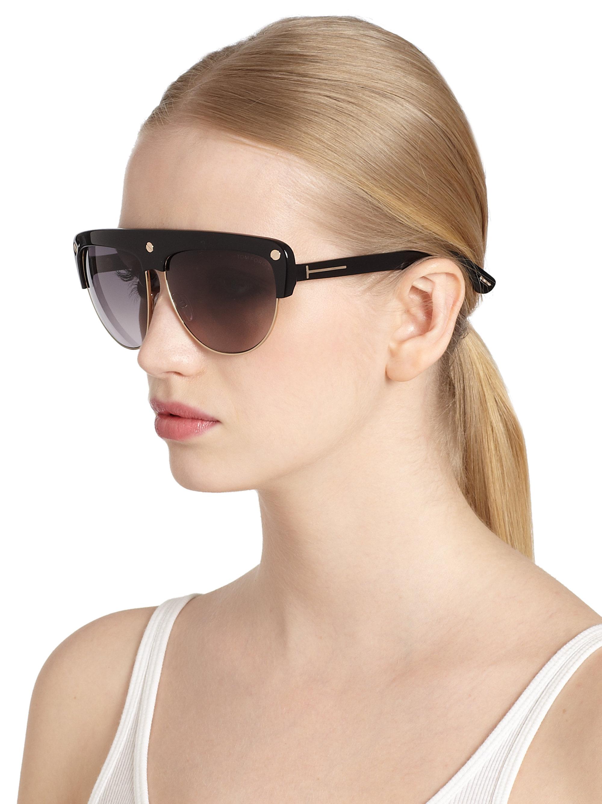 ed486ae834a51 Tom Ford Liane Shield Aviator Sunglasses in Black - Lyst