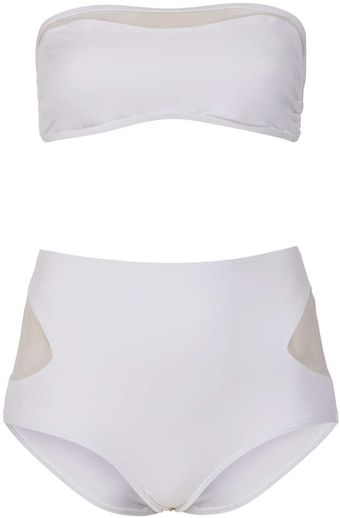 Topshop White Sheer Panel Bikini - Lyst