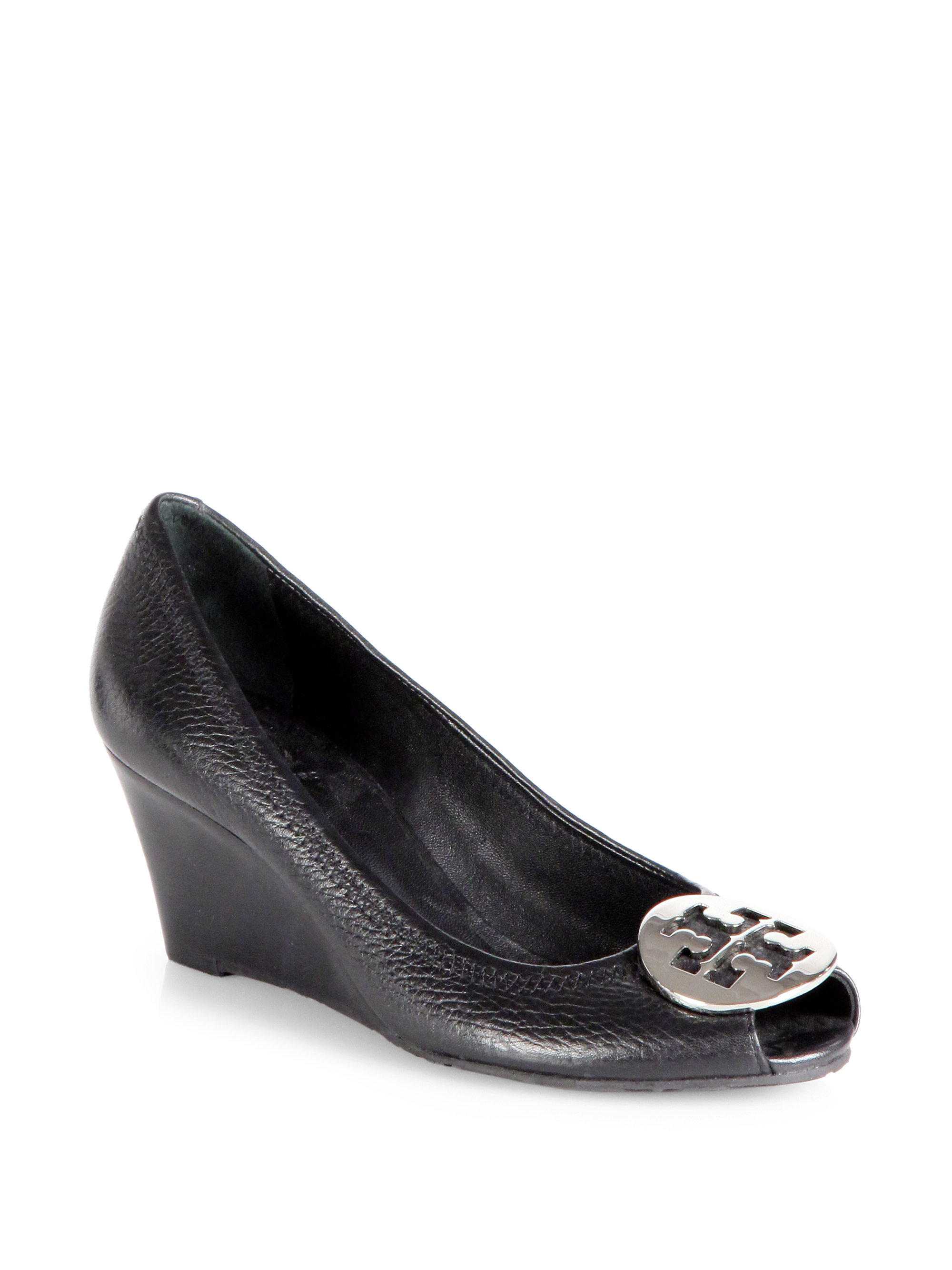 aae0ef8d3fb1 Lyst - Tory Burch Sally 2 Tumbled Leather Wedge Pumps in Black