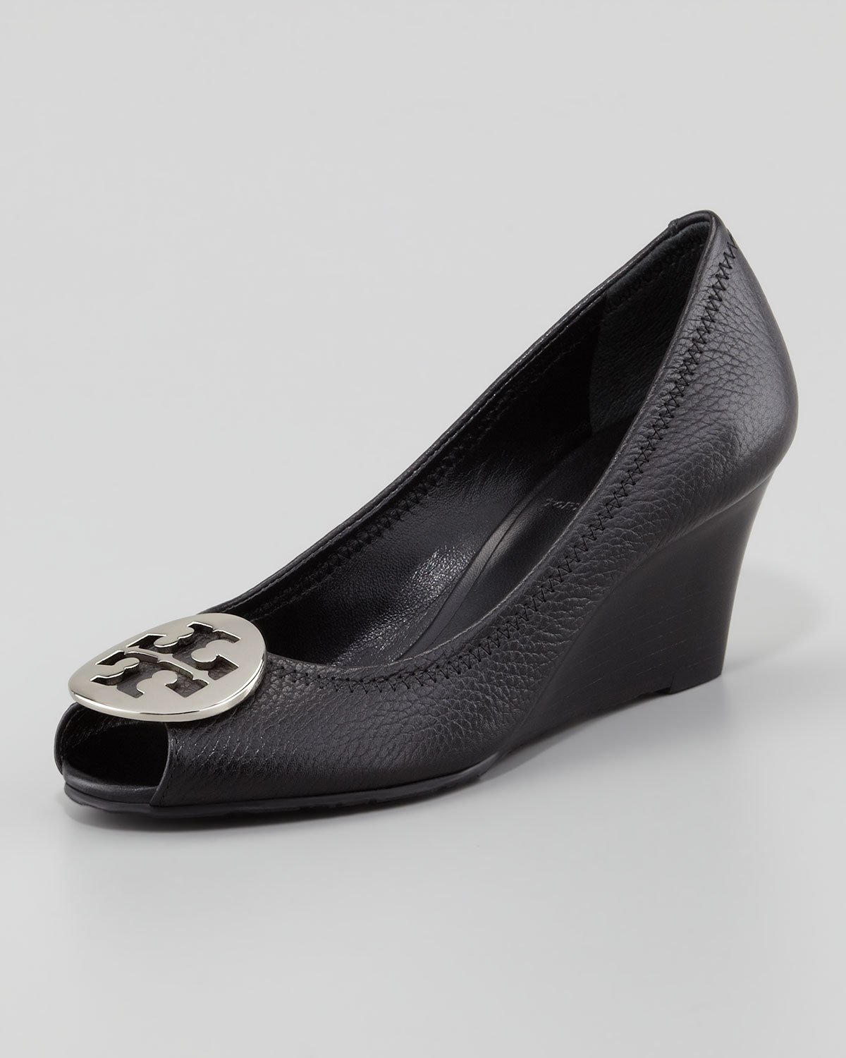 bc11c8ea4a4c Lyst - Tory Burch Sally 2 Leather Wedge Pump in Black
