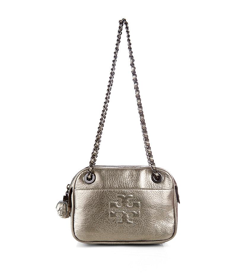 ea24e7027fa1 Tory Burch Thea Metallic Crossbody Bag in Metallic - Lyst