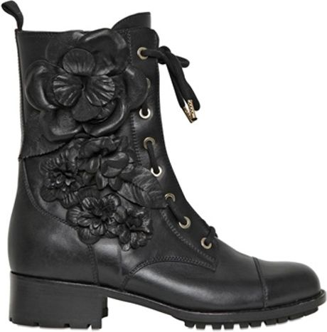 Valentino 30mm Calfskin Embroidered Combat Boots in Black