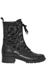 Valentino 30mm Calfskin Embroidered Combat Boots in Black - Lyst