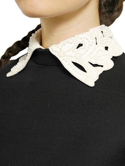 Valentino Wool Silk Blend Drill Nappa Collar Dress In