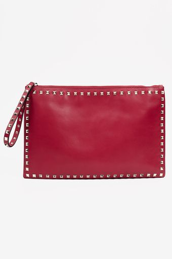 Valentino Rock Star Studded Clutch Red - Lyst