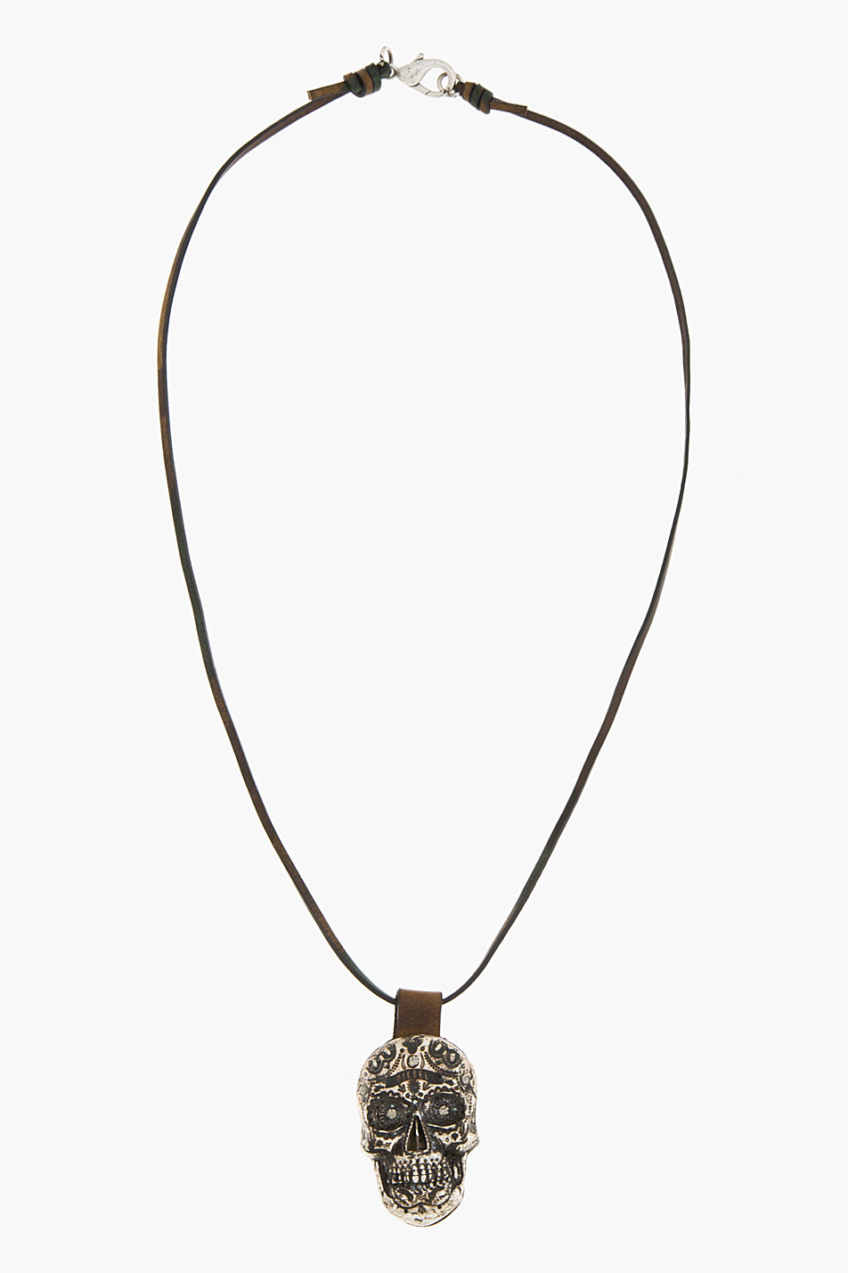 Diesel Crystal And Leather Askula Sugar Skull Necklace In