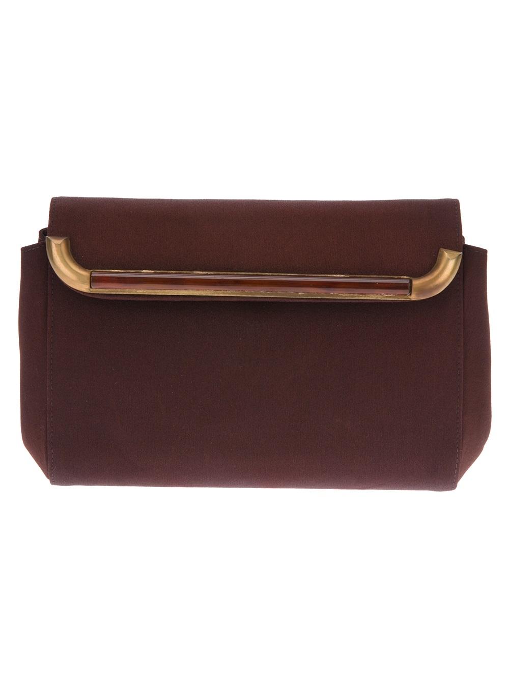 gucci vintage goldtone trim clutch bag in gold lyst