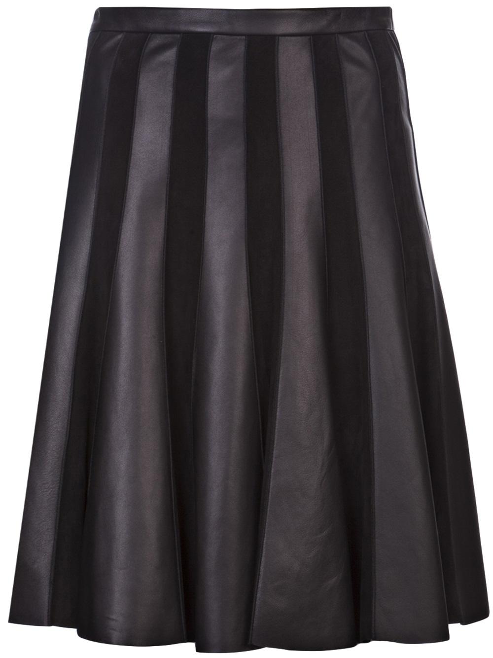 jason wu leather panel flare skirt in black lyst