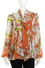 Just Cavalli Floral Snakeprint Tie Neck Blouse - Lyst