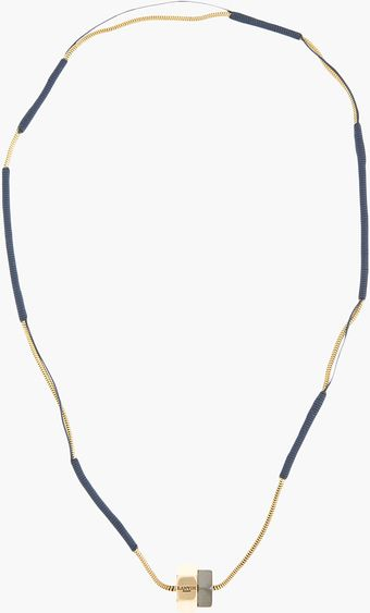 Lanvin Gold and Navy Thread Wound Nut Necklace - Lyst