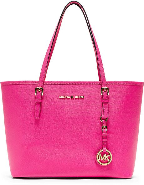 michael michael kors small jetset travel tote bag in pink neon pink. Black Bedroom Furniture Sets. Home Design Ideas