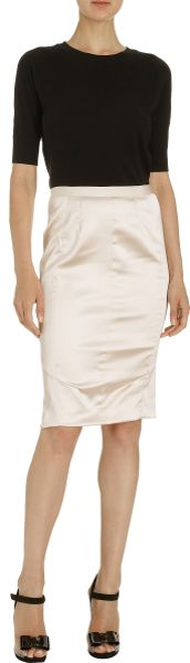 ricci satin pencil skirt in pink blush lyst