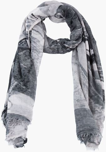 Rick Owens Black and Grey Printed Post Psyc Scarf - Lyst