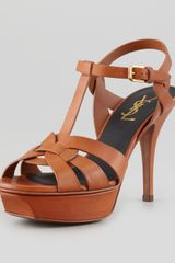 Saint Laurent Tribute Lowheel Leather Sandal Brown - Lyst