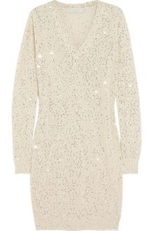Stella McCartney Sequined Cottonblend Sweater Dress - Lyst