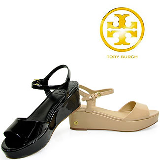 407708a1b Tory Burch Abena Low Wedge Patent Leather Sandal in Black in Black ...