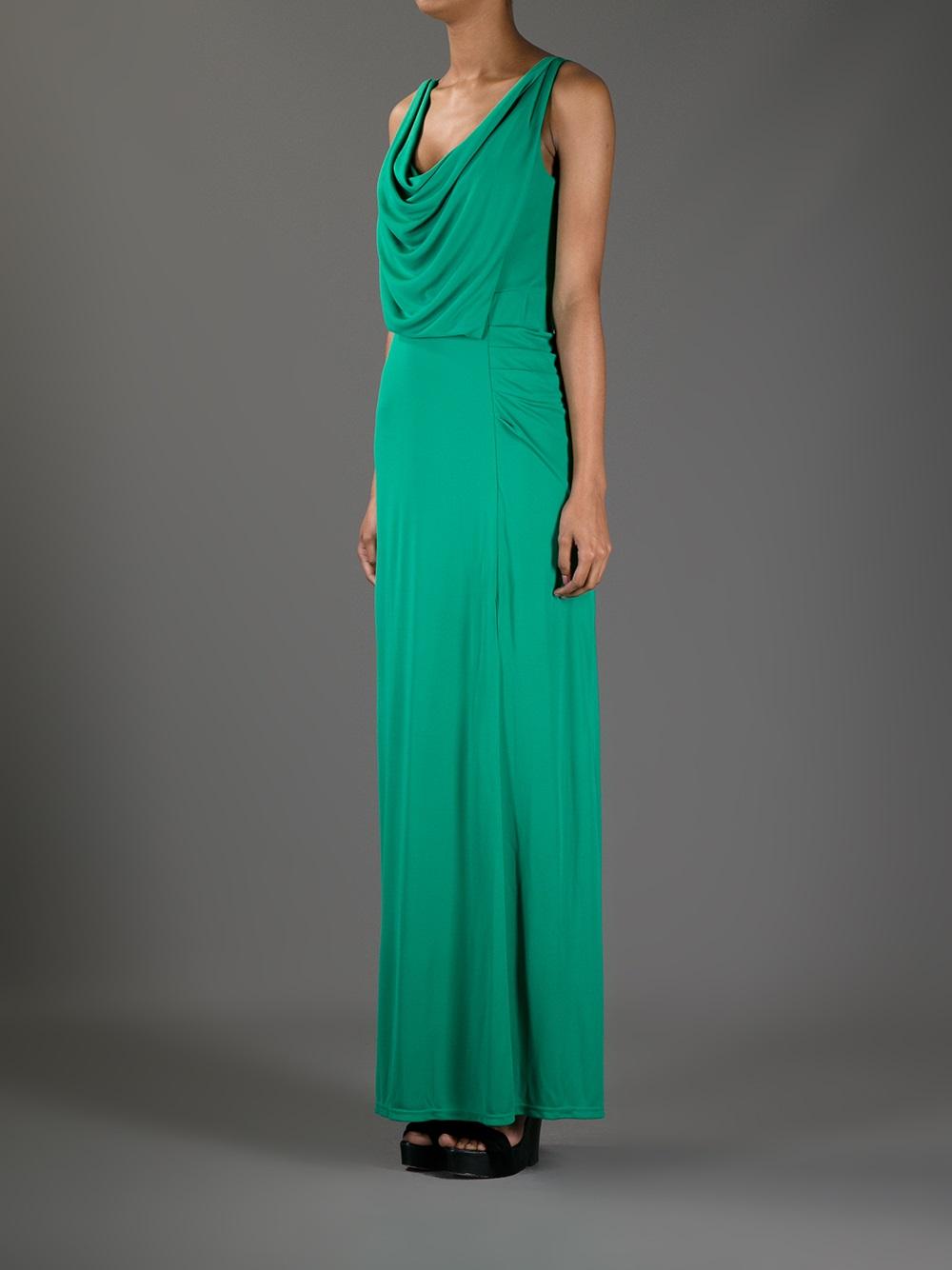 Lyst - Bcbgmaxazria Cowl Neck Maxi Dress in Green