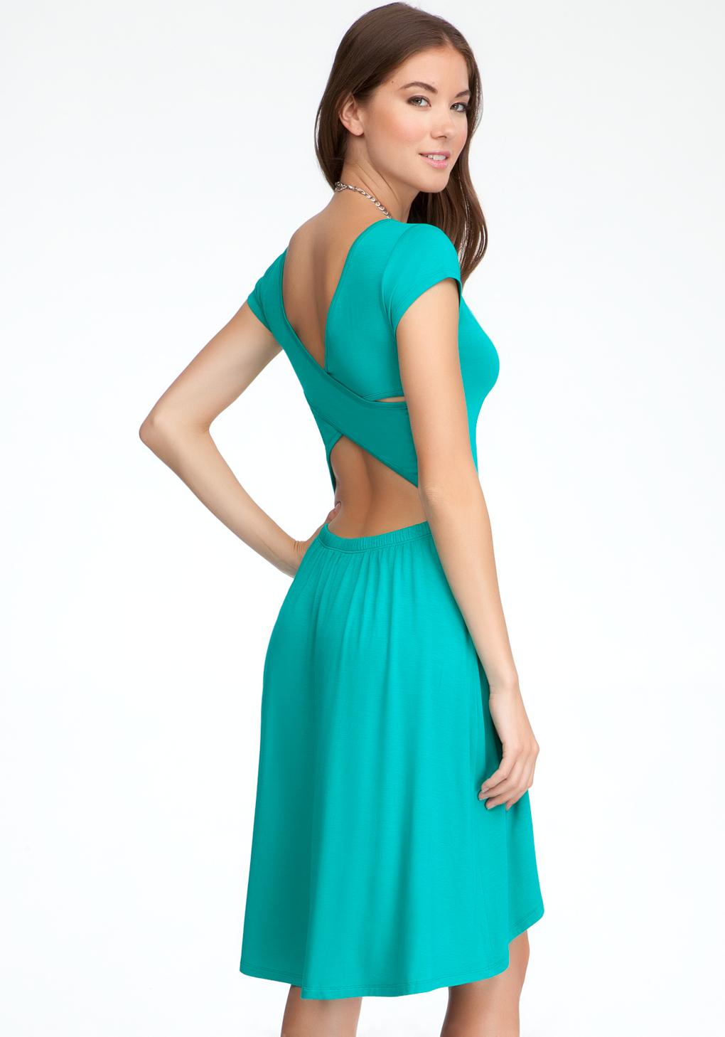Lyst - Bebe Open Back High Low Dress in Green
