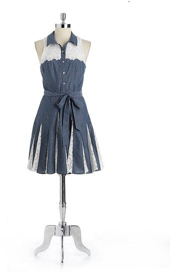 Betsey Johnson Belted Cotton Chambray Lace Shirtdress - Lyst