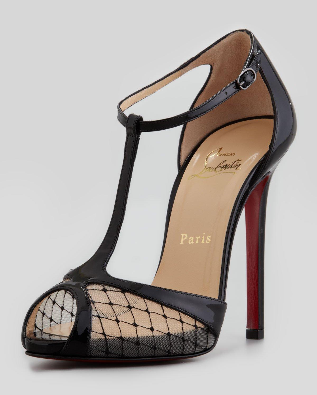 lyst christian louboutin lagoula tstrap fishnet red sole. Black Bedroom Furniture Sets. Home Design Ideas