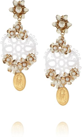 Dolce & Gabbana Cerimonia Goldplated Faux Pearl and Crocheted Clip Earrings - Lyst