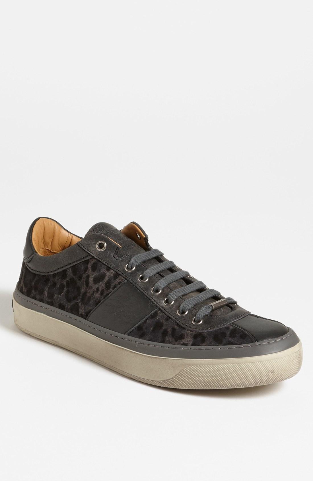 jimmy choo portman sneaker in gray for men smoke leopard lyst. Black Bedroom Furniture Sets. Home Design Ideas