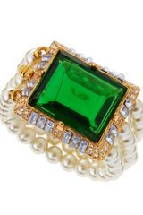 Kenneth Jay Lane Threerow Pearl Emeraldcolor Bracelet - Lyst