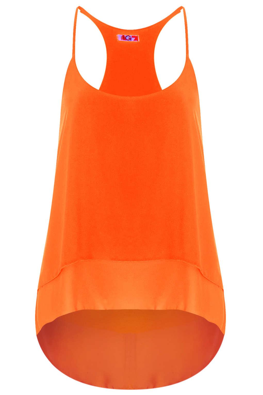 Orange Top With Umbrella Sleeves The Vanca: Topshop Racerback Cami Top In Orange