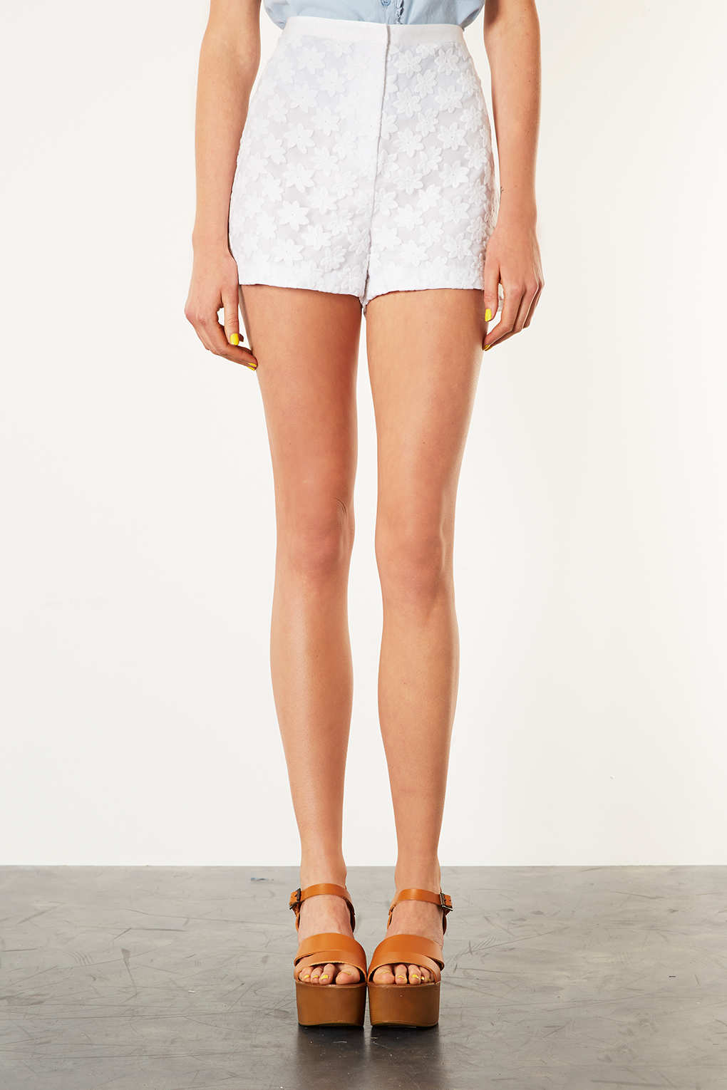 Topshop Tall Organza Flower Shorts in White | Lyst