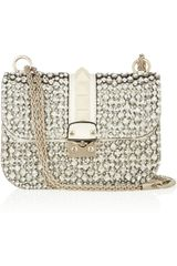 Valentino Glam Lock Crystalembellished Leather Shoulder Bag - Lyst