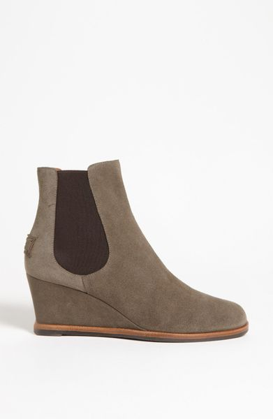 fendi wedge ankle boot in gray grey lyst