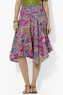 Lauren by Ralph Lauren Ruffled Paisley Cotton Skirt - Lyst