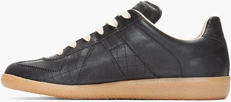 Maison Margiela Matte Black Leather Low Top Sneakers In Black For Men Lyst