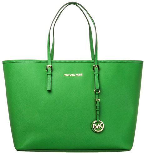michael michael kors jet set handbag green in green lyst