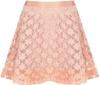 Topshop Embroidered Flower Skater Skirt - Lyst