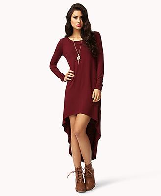 442fd9227410 Lyst - Forever 21 Long Sleeve Highlow Dress in Purple