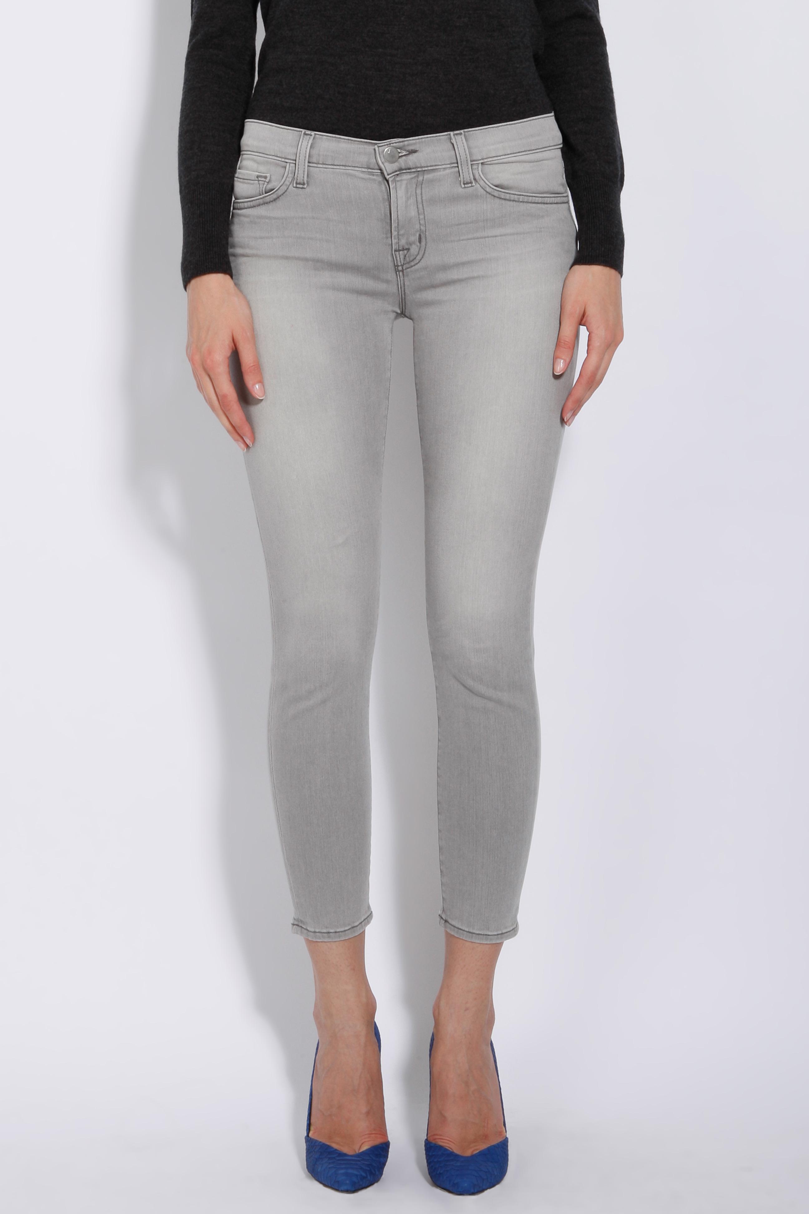 J brand Capri Skinny Jeans in Gray | Lyst