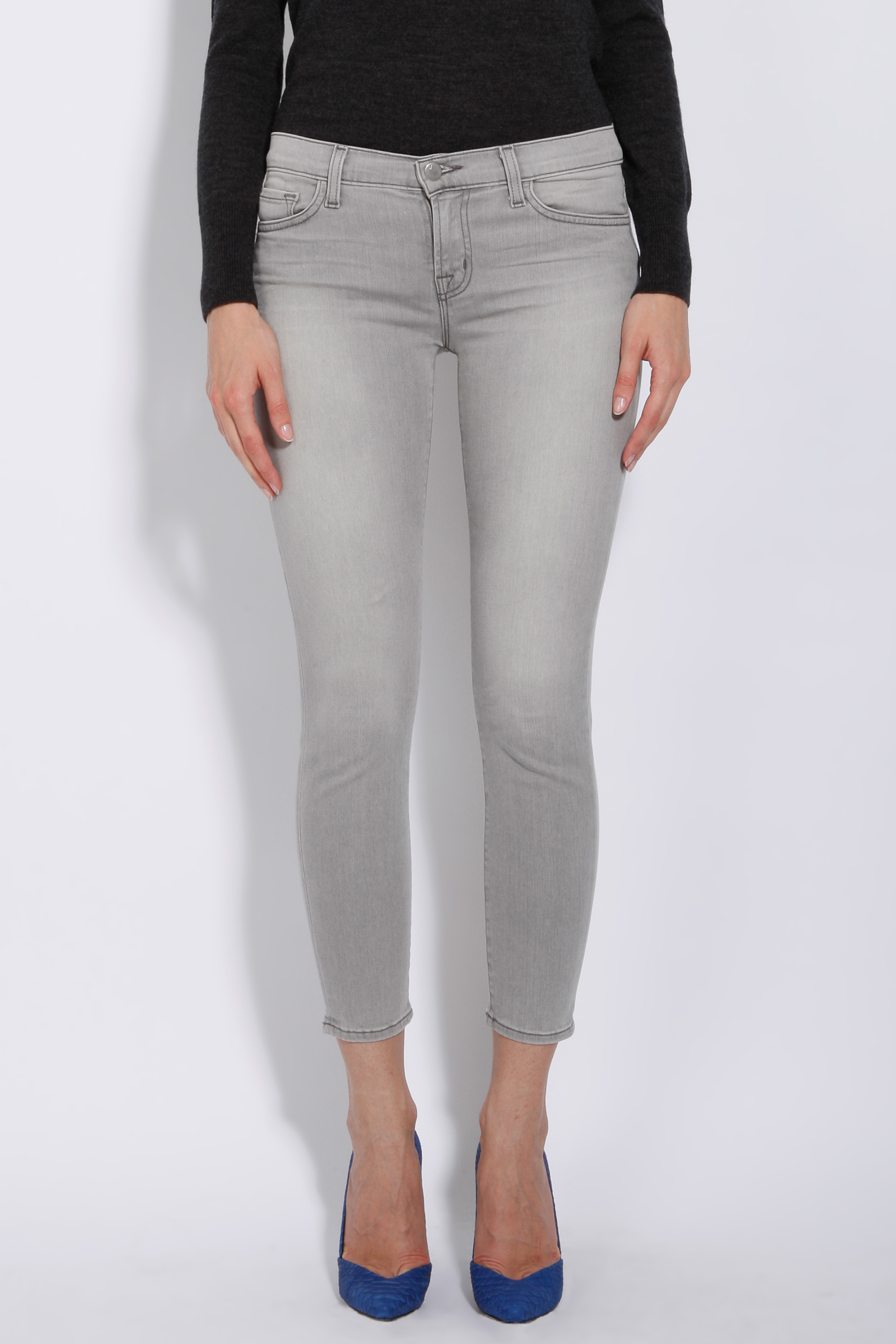 j brand capri skinny jeans in gray lyst. Black Bedroom Furniture Sets. Home Design Ideas